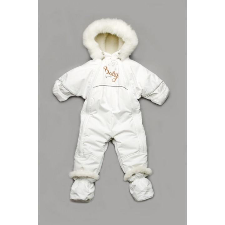 """Детский зимний белый комбинезон-трансформер """"Baby Show"""""""
