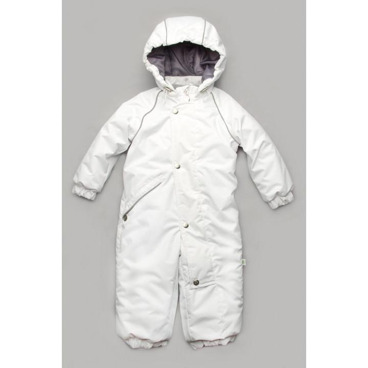 Детский зимний белый комбинезон без ножек цельный на возраст 1, 2, 3 года