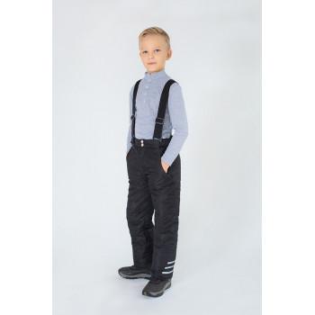 Детский зимний черный полукомбинезон с лямками для мальчика